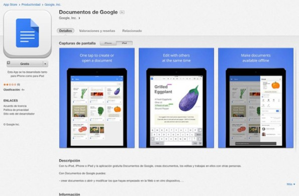 Documentos-de-Google-app-store